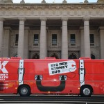 Big Red Kidney Bus - outside Vic parly