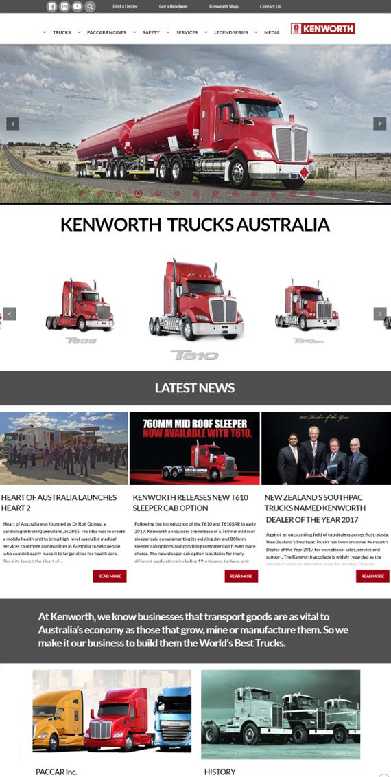 New Kenworth Website – Home Page Screenshot